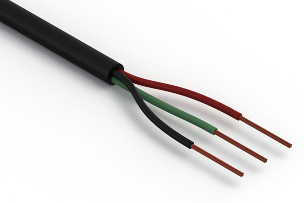 Wire, 3C BC, 24 AWG, 300V, 80C, 3.4 mm, PVC, 76A