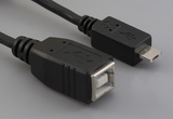 Cable, 100 mm, USB B receptacle to USB micro A male, 28 AWG, 30-00088 wire