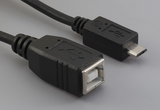 Cable, 100 mm, USB B receptacle to USB micro B male, 28 AWG, 30-00088 wire