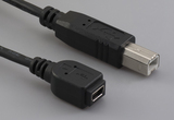 Cable, 100 mm, USB mini A receptacle to USB B male, 28 AWG, 30-00088 wire