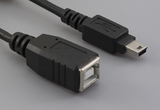 Cable, 100 mm, USB B receptacle to USB mini B 5P male, 28 AWG, 30-00088 wire