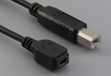 Cable, 100 mm, USB mini B 5P receptacle to USB B male, 28 AWG, 30-00088 wire