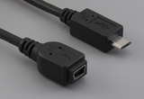 Cable, 100 mm, USB mini B 5P receptacle to USB micro B male, 28 AWG, 30-00088 wire