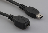 Cable, 100 mm, USB mini B 5P receptacle to USB mini A male, 28 AWG, 30-00088 wire