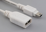 Cable, 100 mm, USB A receptacle to USB mini B 5P male, 28 AWG, 30-00099 wire, white