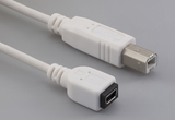 Cable, 100 mm, mini USB A receptacle to USB B male, 28 AWG, 30-00099 wire, white