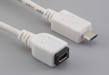 Cable, 100 mm, mini USB A receptacle to USB micro B male, 28 AWG, 30-00099 wire, white