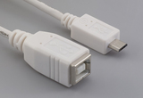 Cable, 100 mm, USB B receptacle to USB micro B male, 28 AWG, 30-00099 wire, white
