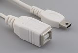 Cable, 100 mm, USB B receptacle to USB mini A male, 28 AWG, 30-00099 wire, white