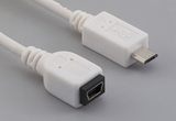 Cable, 100 mm, USB mini B 5P receptacle to USB micro B male, 28 AWG, 30-00099 wire, white