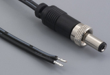 Cable, 2000 mm, 5.5x2.5x7.5mm 50-00011 locking dc plug to 5mm tinned, 18 AWG, UL2468, 30-00007 wire
