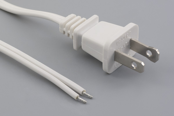 Ac cord, 2000 mm, U.S, NEMA 1-15P plug, TLY-1P to tinned, 18 AWG, SPT-1 wire, 30-00243, white