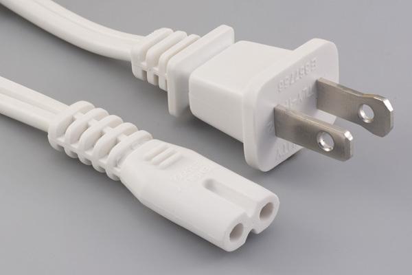 Ac cord, 2000 mm, U.S, NEMA 1-15P plug, TLY-1P to C7, TLY-22S, 18 AWG, SPT-2 wire, 30-00247, white
