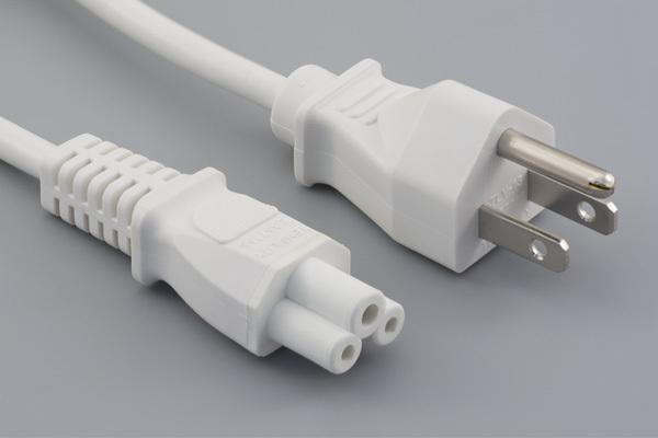Ac cord, 1000 mm, U.S, NEMA 5-15P plug, TLY-13 to C5, TLY-28, 18 AWG, SVT wire, 30-00245, white