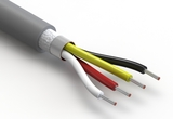 Wire, 4C TS, 24 AWG, UL20549, 300V, 80C, 5.2 mm, shielded, VW-1, TPU, gray