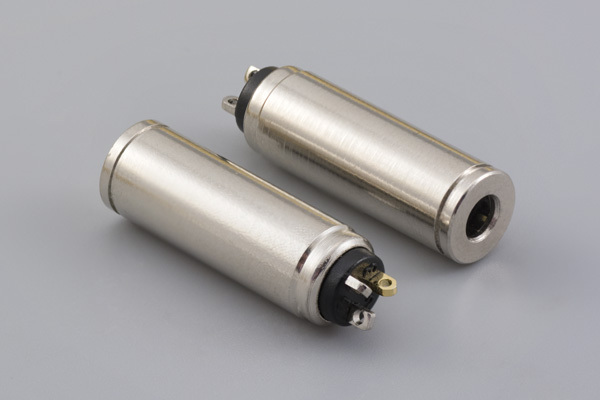 Connector, 4C audio jack, 3.5x7.8xL25.8 mm, brass, nickel plated, molding style