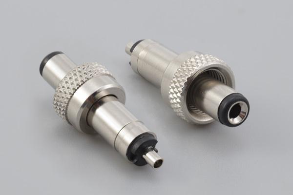 Connector, dc plug, 5.5x2.5xBL7.5xL30 locking style, brass nickel plated, threaded nut 5/16-32