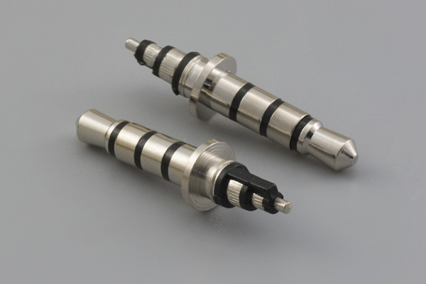 Connector, 3.5xL23 mm, 4C audio plug, brass, nickel plated, for right angle  applications