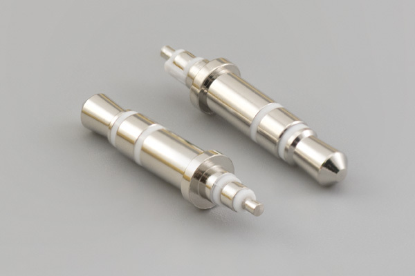 Connector, stereo plug, 3.5xL20.5 mm, brass, nickel plated, white, molding style