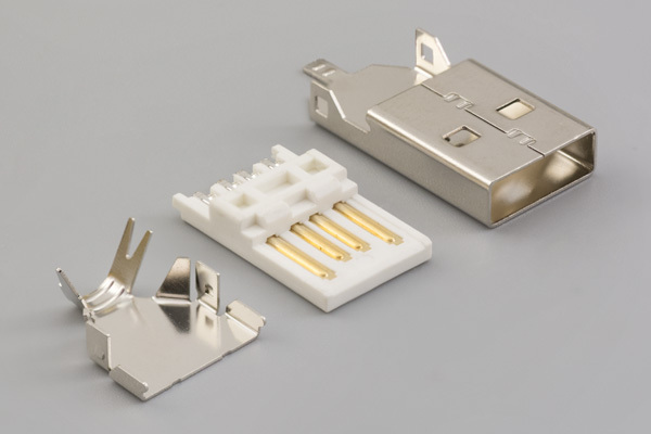 Connector, USB A plug, molding style, nickel shell, shielded, white insulator