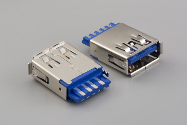 Connector, USB A 3.0 Jack, molding style, nickel shell, dual row terminals, blue insulator, tray