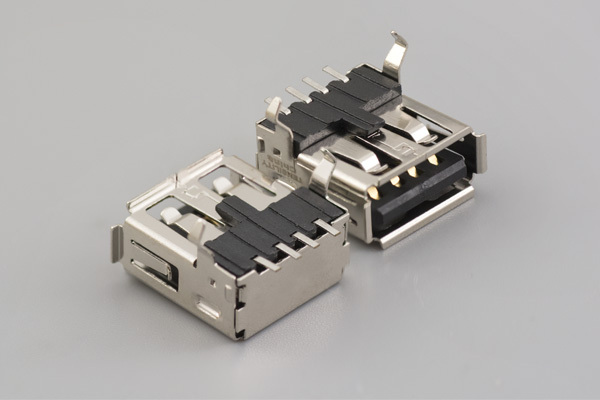 Connector, USB A jack, SMT mount, 90°, nickel shell, board lock, black insulator, tray