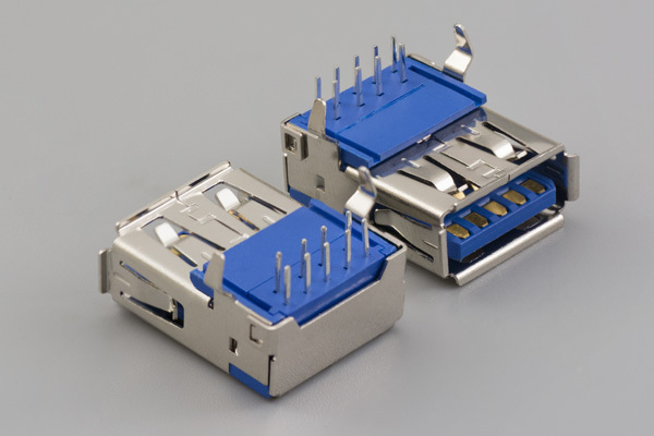Connector, USB A 3.0 Jack, PCB mount, 90°, nickel shell, DIP, board lock, blue insulator, tray