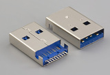 Connector, USB A 3.0 plug, horizontal SMT or molding style, nickel shell, blue insulator