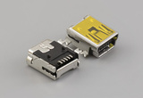 Connector, USB mini B Jack, SMT mount, 90°, nickel shell, black insulator, reel