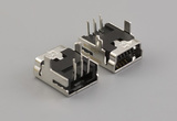 Connector, USB mini B Jack, PCB mount, 90°, DIP, black insulator, tube