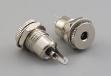 Connector, dc jack, 3.5x1.1xL24.2 mm, panel mount, threaded, nut and washer, brass, nickel