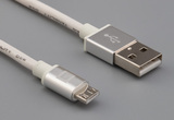 Cable, 1000 mm, 50-00575 USB A plug to 50-00581 USB A micro plug, 28 AWG, 30-00099 wire, white