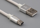 Cable, 1000 mm, 50-00575 USB A plug to 50-00583 USB B mini 5P plug, 28 AWG, 30-00099 wire, white