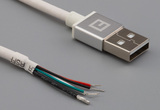 Cable, 1000 mm, 50-00575 USB A plug to 5 mm tinned, 28 AWG, 30-00099 wire, white