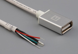 Cable, 1000 mm, 50-00577 USB A receptacle to 5 mm tinned, 28 AWG, 30-00099 wire, white