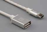 Cable, 1000 mm, 50-00577 USB A receptacle to 50-00579 USB A mini plug, 28 AWG, 30-00099 wire, white