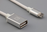 Cable, 1000 mm, 50-00577 USB A receptacle to 50-00581 USB A micro plug, 28 AWG, 30-00099 wire, white