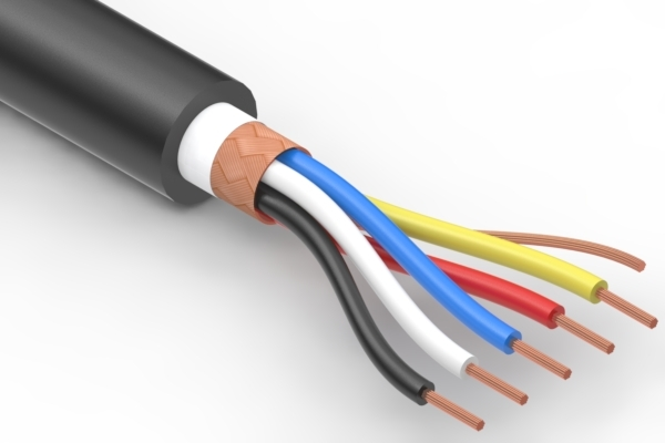 Wire, 5C BC, 28 AWG, UL20280, 300V, 80C, 4.5 mm braided shield, FT2, TPU