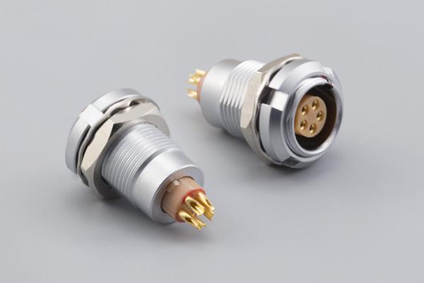 Connector, PPL7, 5C, 0° panel socket, front-back mount, 7x20 mm, chrome, solder
