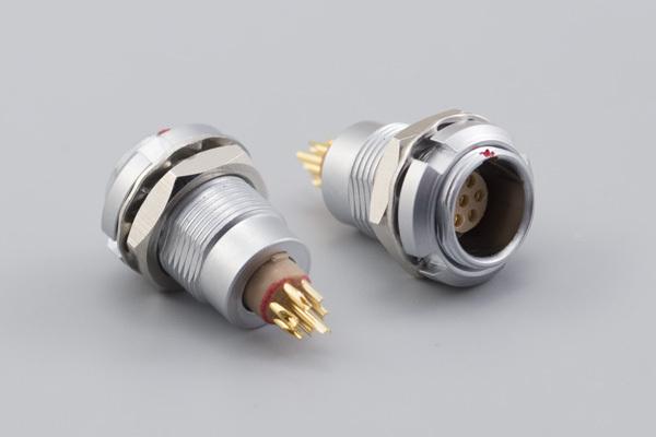 Connector, PPL7, 7C, 0° panel socket, front-back mount, 7x21.5 mm, chrome, solder